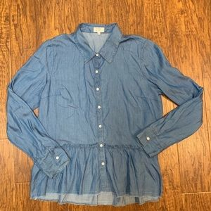 Crown and ivy chambray denim peplum tunic top M